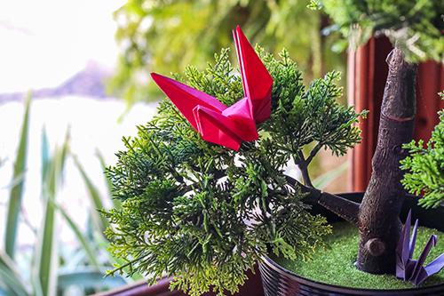 Detalhe - bonsai com origami